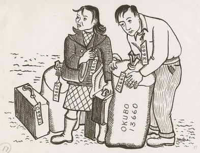 Mine and Benji standing with their luggage, Berkeley, California, 1942
