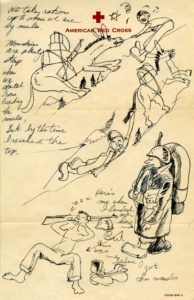 A journalistic drawing by Stanley Hayami. Japanese American National Museum. Gift of Grace S. Koide.