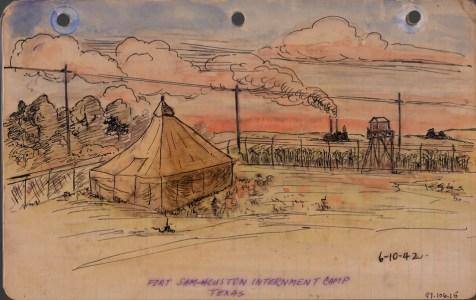 George Hoshida, Fort Sam Houston Internment Camp, Texas. Japanese American National Museum, Gift of June Hoshida Honma, Sandra Hoshida, and Carole Hoshida Kanada.