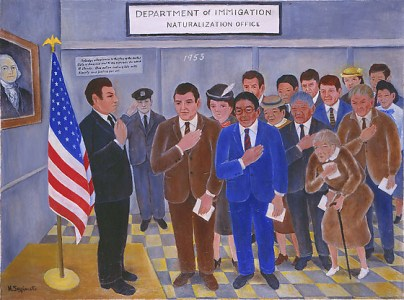 Henry Sugimoto's untitled painting from 1975 depicts the artist's 1953 naturalization ceremony. Sugimoto is in the center, wearing the blue suit. Japanese American National Museum, Gift of Madeleine Sugimoto and Naomi Tagawa.