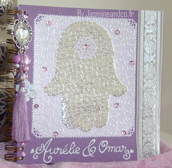 livre d'or oriental violet argent