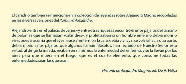 texto de la Historia de Alejandro Magno tomado del Roman d'Alexander