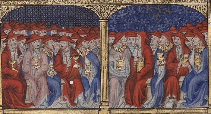 Cónclave de cardenales. Colegio cardenalicio en una miniatura medieval