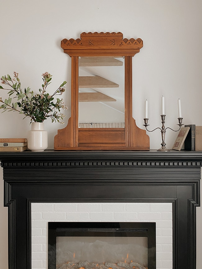 antique mirror fireplace mantel