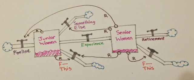 Same picture, with the addition of arrows indicating the affect of quantity of Senior Women on the input pipeline, the Something Else outflow, and both F This outflows. Also, arrows indicate an effect of quantity of junior women on input pipeline and their own F This outflow.