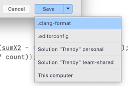 save format settings from dialog