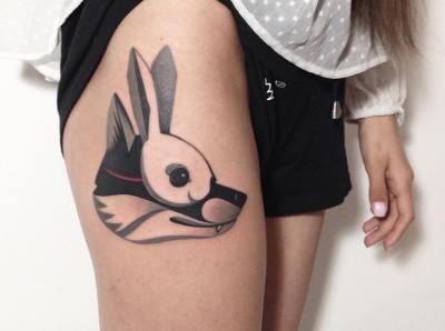 rabbit tattoo on thigh for girls