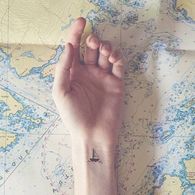 boat tattoo for girls hand
