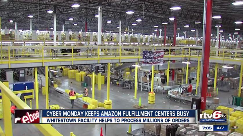 Inside Amazon's Whitestown, Indiana warehouse. WRTV photo.