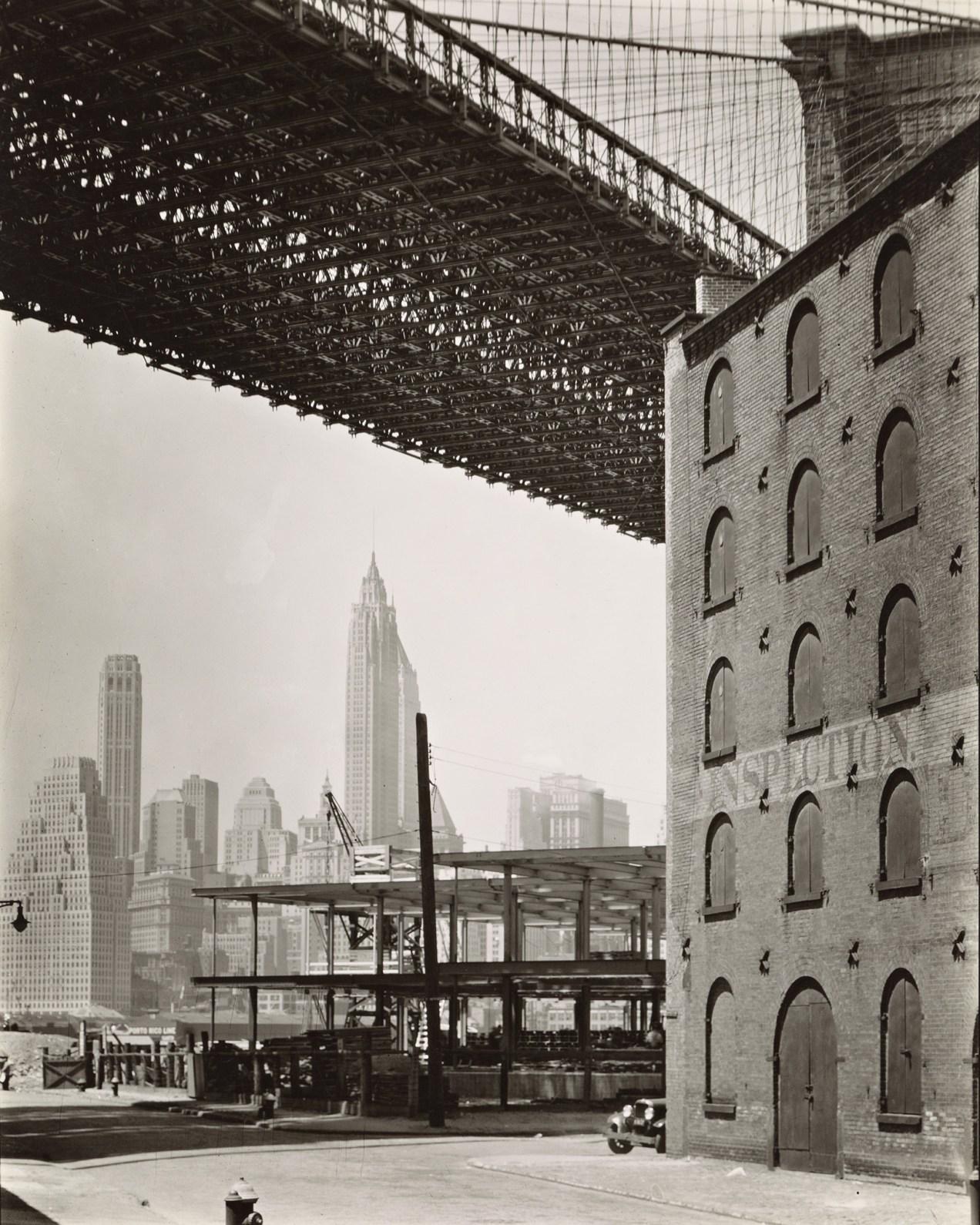 Brooklyn Bridge, Water and Dock Streets, looking southwest, Brooklyn, 1936