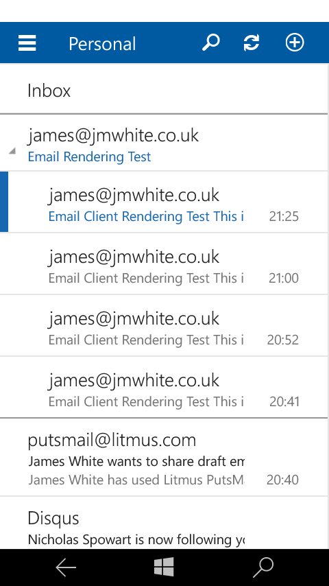 Outlook Mail inbox view and new user interface