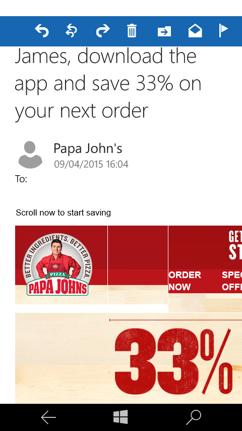 Papa Johns email campaign on Outlook Mail