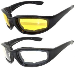 Sport Sunglasses Black Motorcycle Padded Foam Glasses
