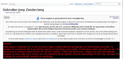 er zou geen plaats meer zijn op wikipedia....totaal absurde smoes om ook mijn verweer van wikipedia te verwijderen