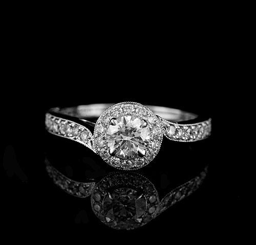 Micro Pave Gold Engagement Ring (Source: artfire.com)