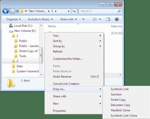 Screenshot of Link Shell Extension