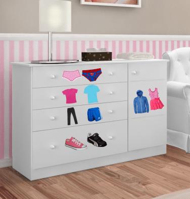 Exemplo de cômoda com foto, para crianças que ainda não conhecem os números