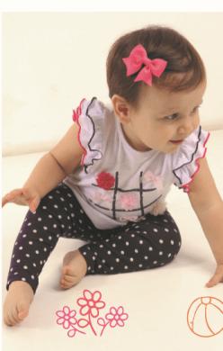 Blusa bebê jogo laço e flor