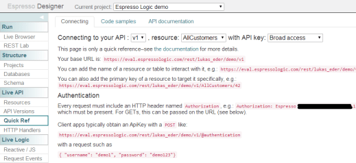 A quick API reference