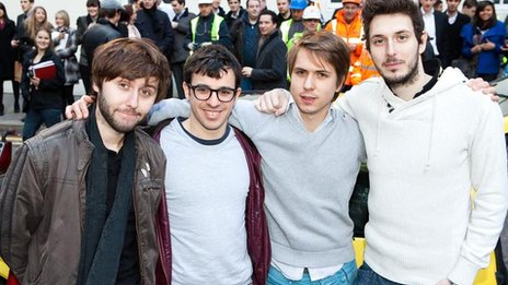 Jay Cartwright (James Buckley), Will McKenzie (Simon Bird), Simon Cooper (Joe Thomas) and Neil Sutherland (Blake Harrison)