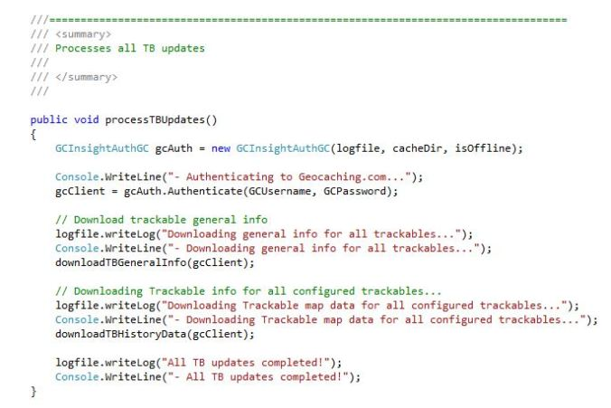 A small excerpt from the GCInishgt TBTrack data gathering method.