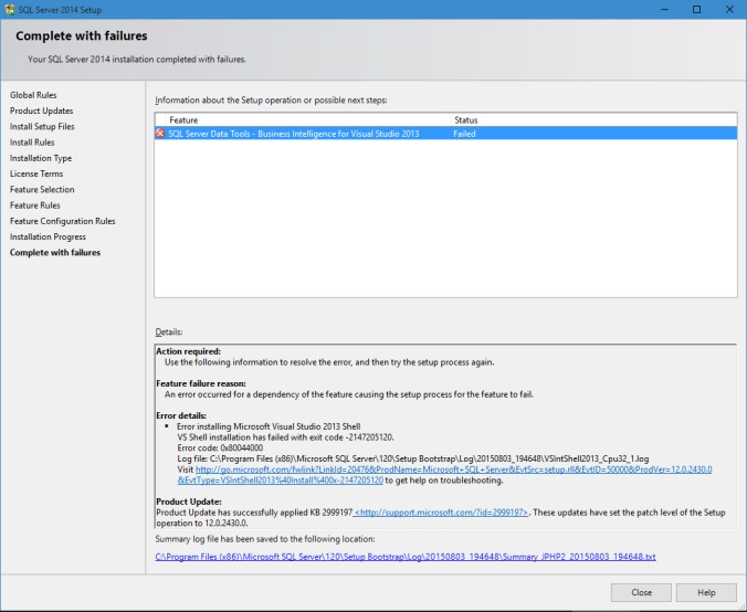SQL Server Data Tools - Business Intelligence for Visual Studio 2013 installation completed with failures