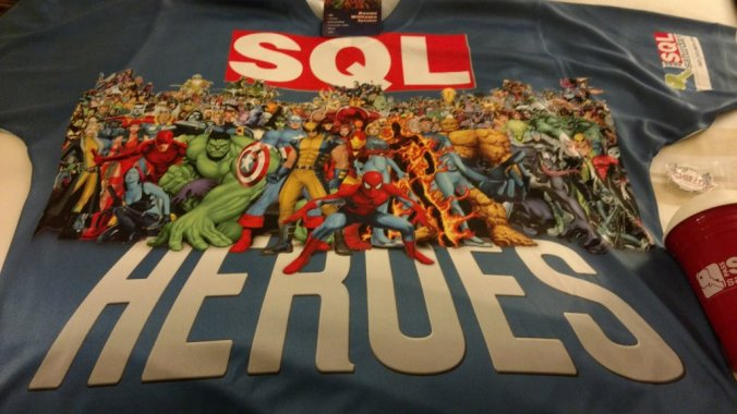 The Super Hero themed Speaker / Organizer shirt for SQL Saturday 521 - Atlanta. Photo by @naomithesqldba
