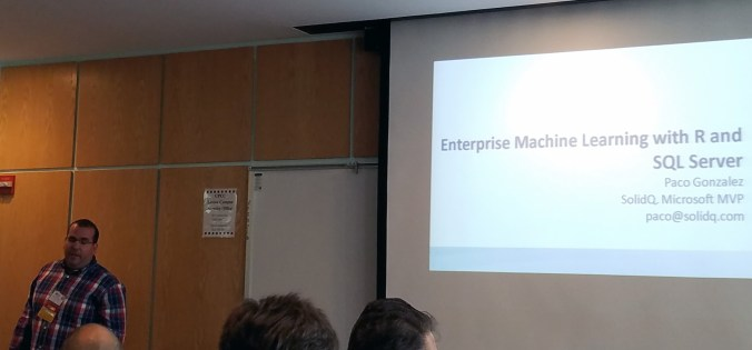 Paco Gonzalez presenting Enterprise R at SQL Saturday 560