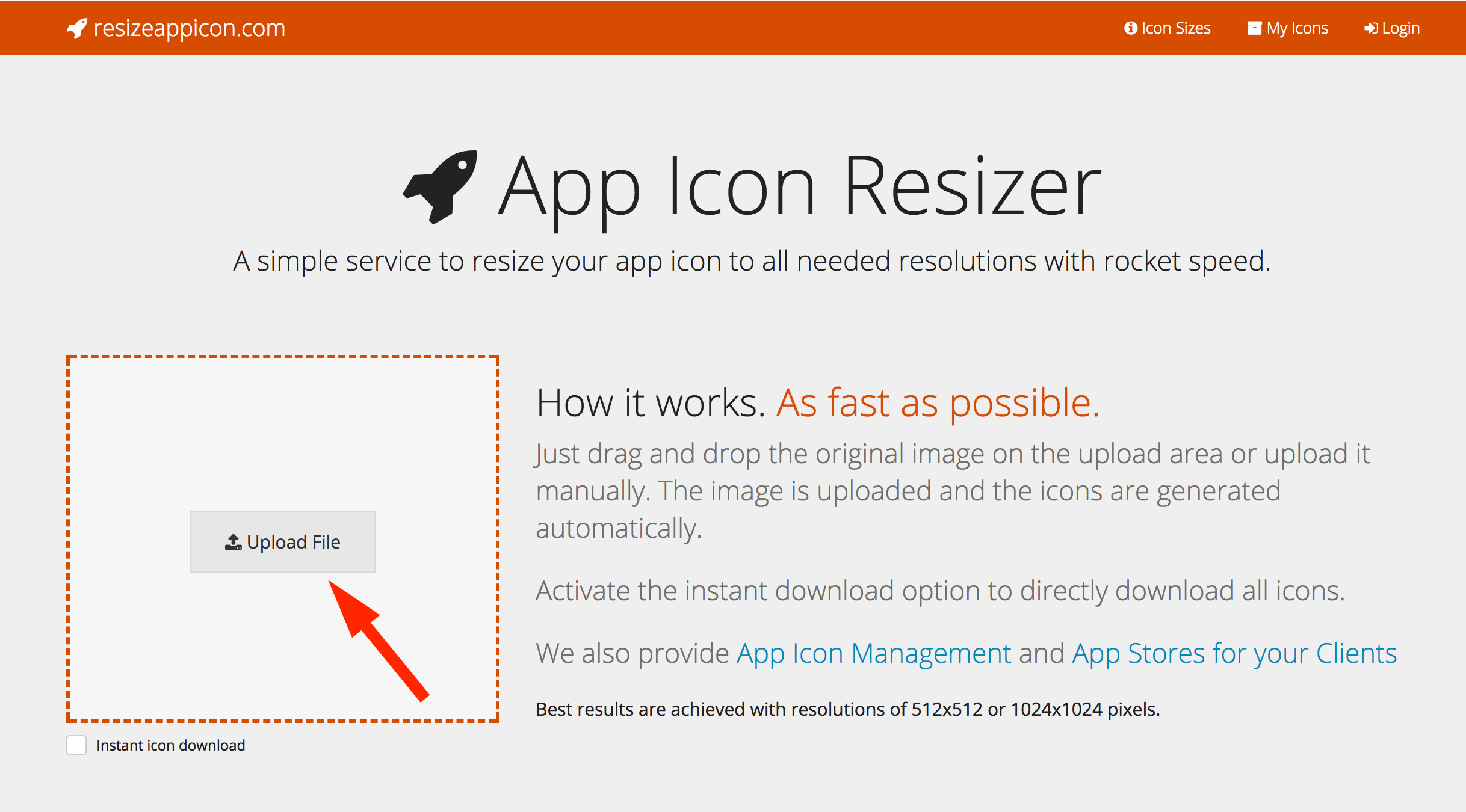 Upload your images to the App Icon Resizer