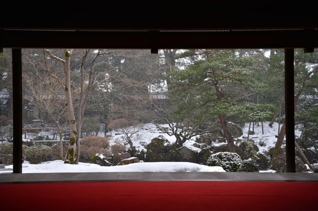 Garden view from the main drawing room in Winter
