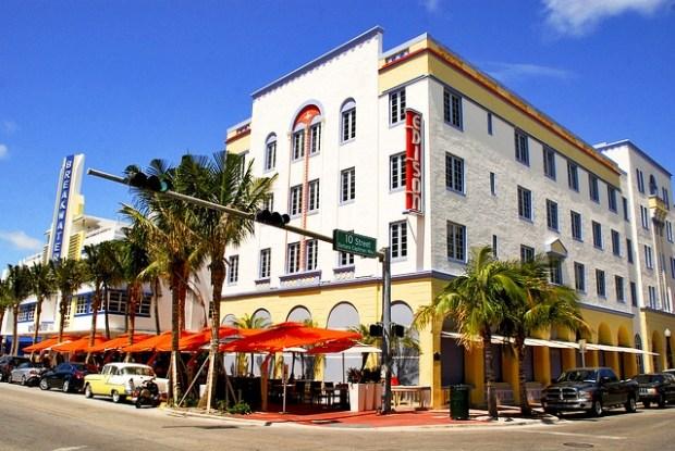 Art Nouveau buildings Miami Ocean Drive streets