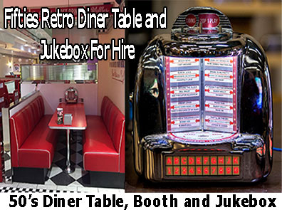 50s Table Top Jukebox Selector and Diner Booth To Hire – Tel: 01604
