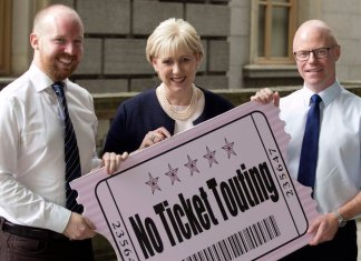 Irish MPs Noel Rock and Stephen Donnelly with Heather Humphreys, Ireland's minister for business, enterprise, and regulation | above-face value ticket sales