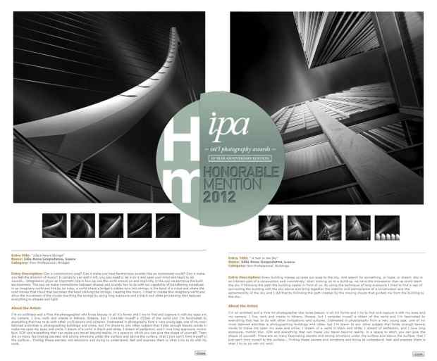 IPA 2012 - International Photography Awards - Honorable Mentions for Architecture - Categories Bridges and Buildings