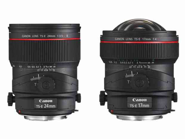 The two most popular tilt-shift lenses for architectural photography: the Canon TS-E 24mm f/3.5 L II and Canon TS-E 17mm f/4L