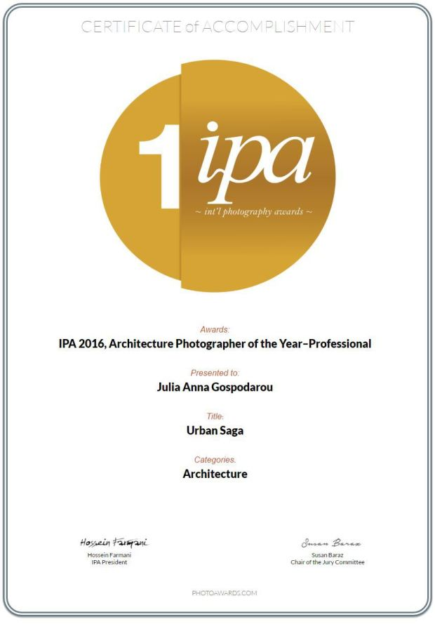 Julia Anna Gospodarou - IPA 2016 International Photography Awards Photographer of the Year Architecture Professionals Certificate of accomplishment