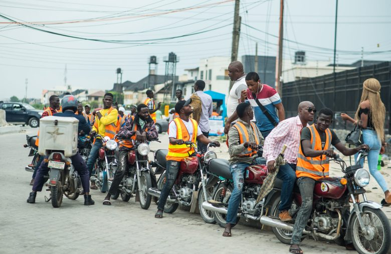 A group of Okada riders waiting for passengers.