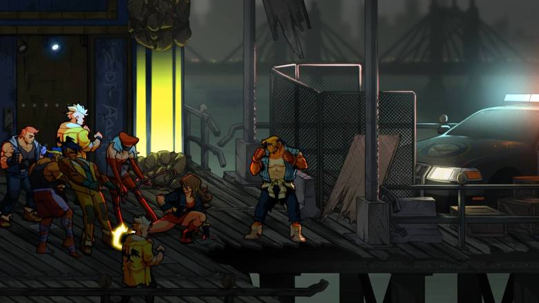 A screenshot showing 2-player co-op gameplay in Streets of Rage 4