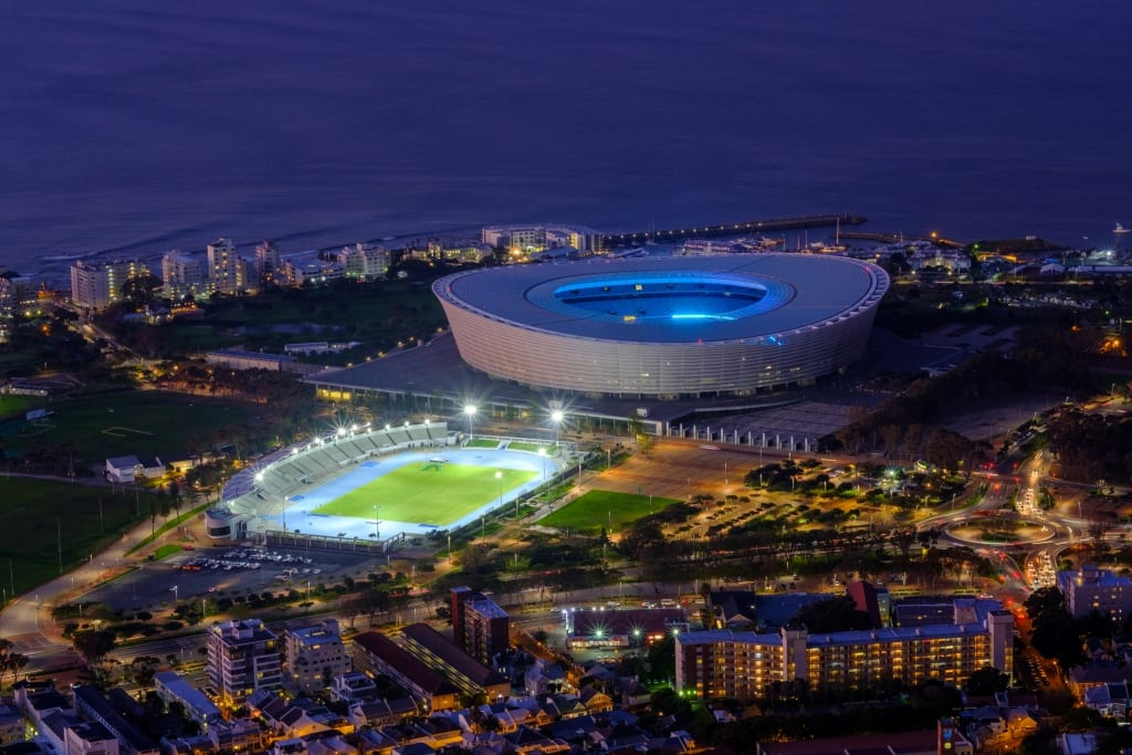 Photography of Green Point Athletics Stadium Cape Town at night