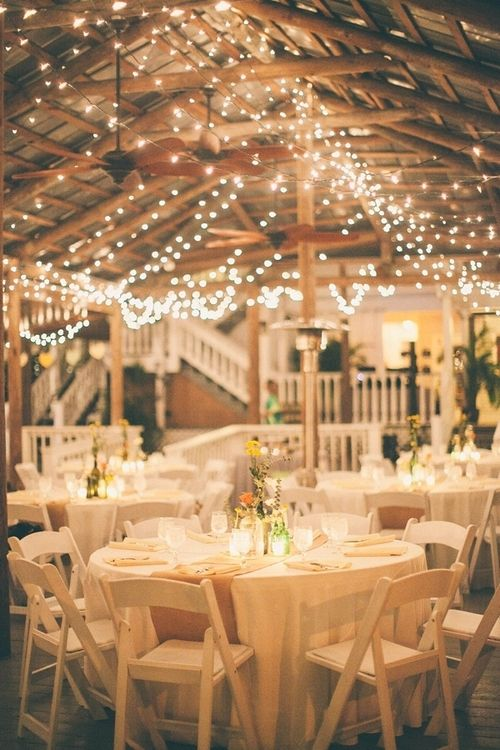 country-wedding-reception-ideas-Burlap-for-the-table-runners-and-Xmas-lights-all-over-the-pavilion