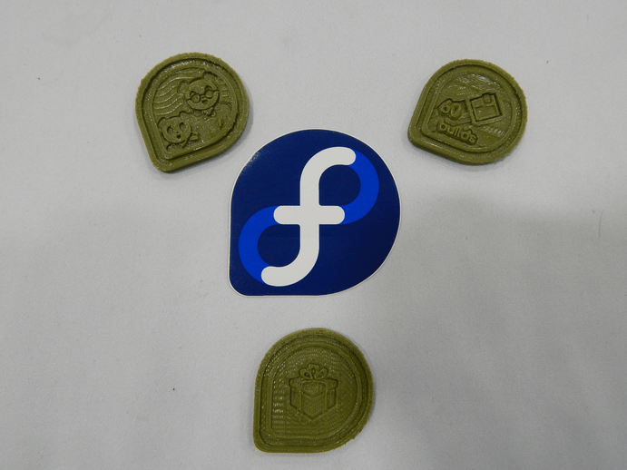 Bitcamp 2016: 3D printed Fedora Badges