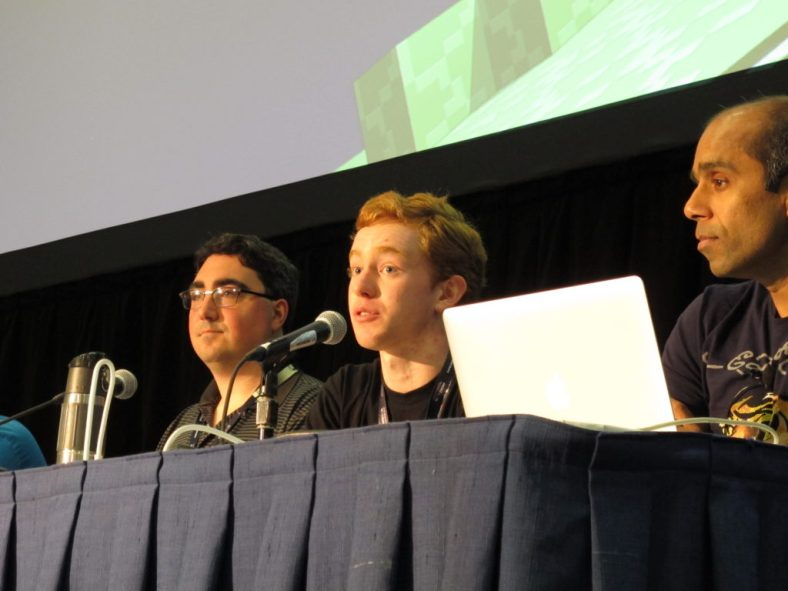 """SpigotMC project lead Michael Dardis answers a question at the """"Using Minecraft Mods for Teaching"""" panel at MINECON 2016 in Anaheim, California"""