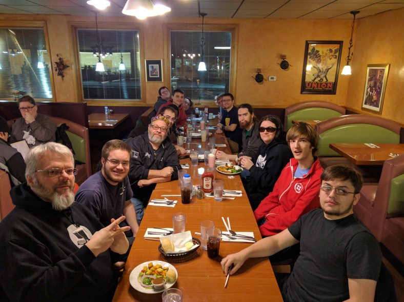 """On 2016 Dec. 10th, the """"FOSS Family"""" went to dinner at a local restaurant to celebrate the semester"""