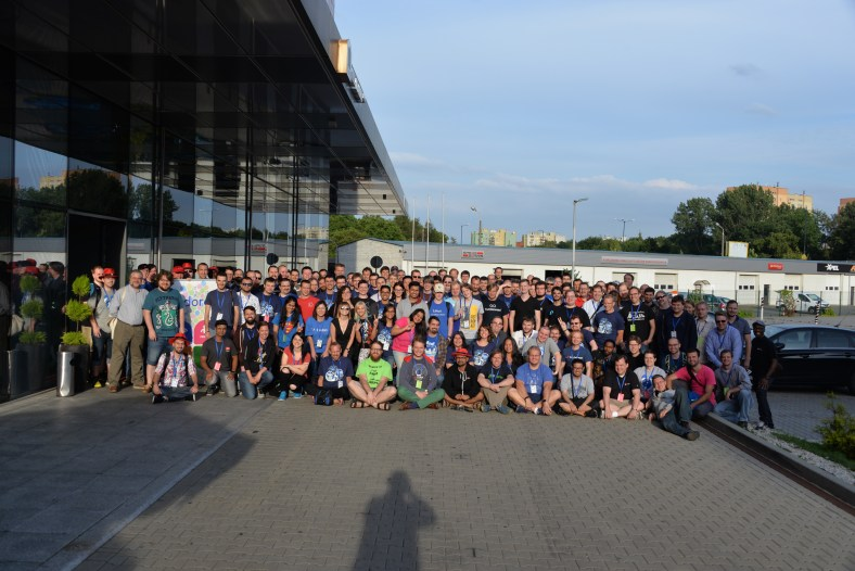 Group photo of all Flock 2016 attendees outside of the conference venue (Photo courtesy of Joe Brockmeier)