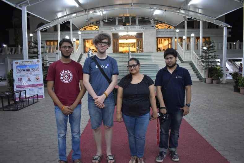 Together at the gurdwara in Pune. Left to right: Prakash Mishra, me, Amita Sharma, Sumantro Mukherjee