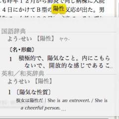 選択した単語の意味が表示される