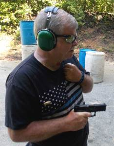 Bob Campbell shooting a Smith and Wesson Shield pistol
