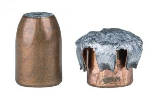 Federal bonder core bullet left and upset bullet right
