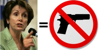 Nancy Pelosi and firearm with a red circle bar