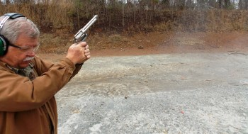 Bob Campbell shooting the Ruger Blackhawk revolver